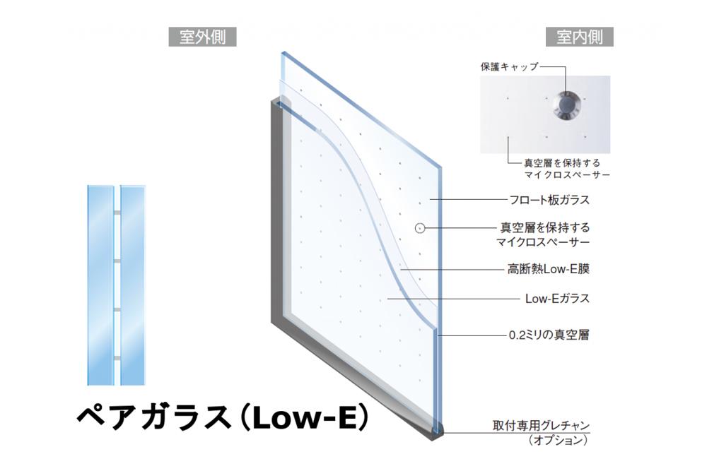 ペアガラスはガラスを2枚以上使いその間に薄い層を作ることで断熱性に優れたガラスです。
